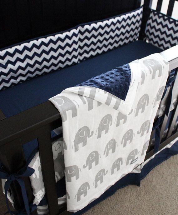 Custom Crib Bedding - Navy Blue Chevron and Grey Elephant Baby Bedding