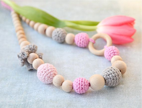 Crochet wooden beads nursing necklace in pink and grey. Teething ring necklace for her. Breastfeeding Babywearing teether
