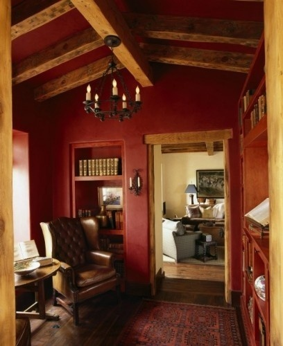 Rustic red paint colors pinterest colors the o 39 jays - Red walls in living room ...
