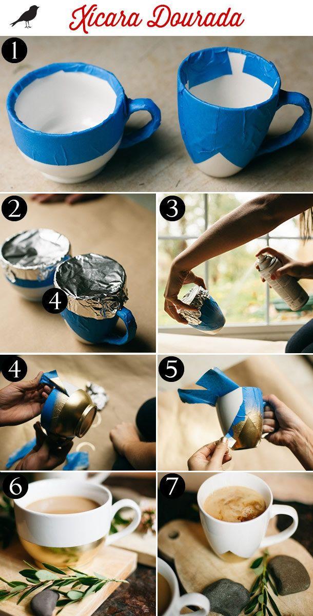 Para ainda mais elegância, você também pode fazer esta caneca com toques dourados. | 15 ideias de presentes de emergência para o Dia das Mães