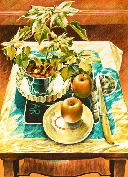 """SANDRA LAWRENCE (BRITISH 20TH CENTURY) """"Poinsettia and Apples"""" lithograph 22 x 30 in (55.9 x 76.2 cm) signed lower right, Edition 244/250"""