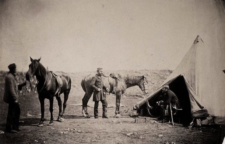 Officers of the 90th Regiment, Captain Hume and Captain Snodgrass with with horses and groom.