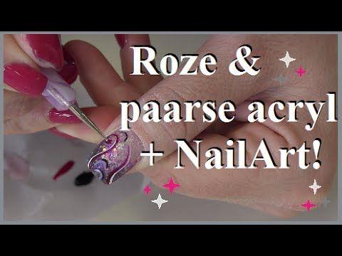 NailArt met roze en paarse glitter acryl