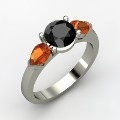 Round Black Diamond 14K white Gold Ring with Fire Opal