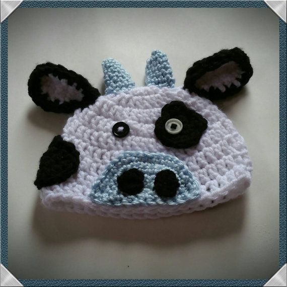 Moo Moo hat, crochet cow hat, blue cow hat Check out this item in my Etsy shop https://www.etsy.com/listing/268050612/moo-moo-hat-cow-hat-baby-boy-cow-hat