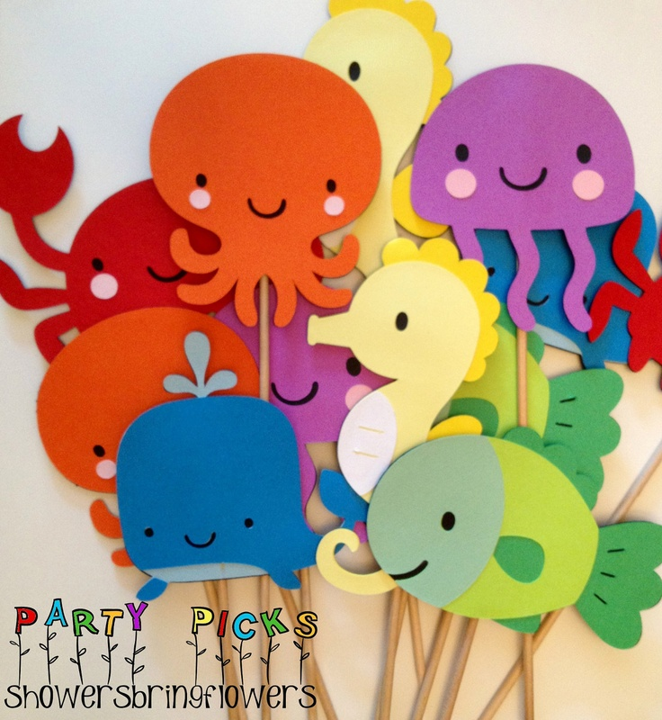 Under the Sea Party Picks  Set of 12 by ShowersBringFlowers, $18.00