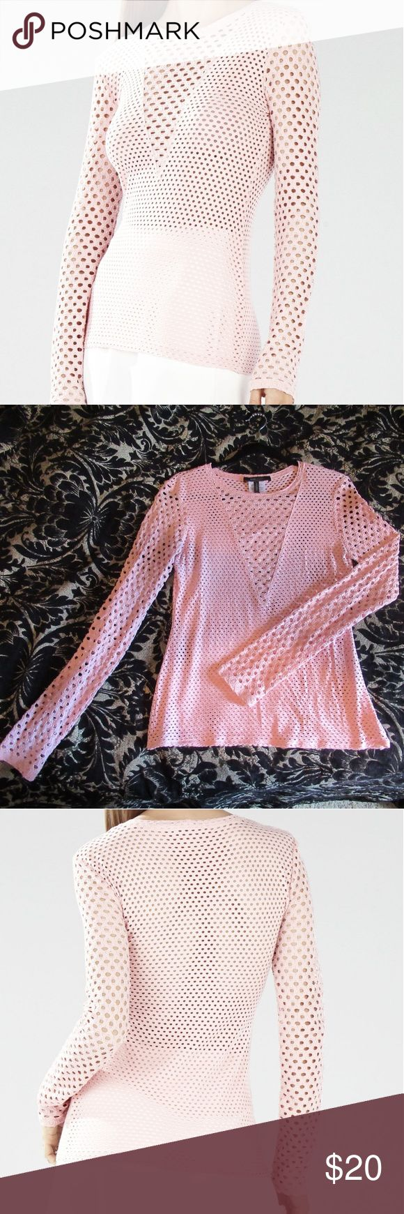 BCBGMaxAzria Top BCBGMaxAzria light pink mesh top - Size Large - Stretchy fabric - The photos with the model show the actual color better. BCBGMaxAzria Tops Tees - Long Sleeve