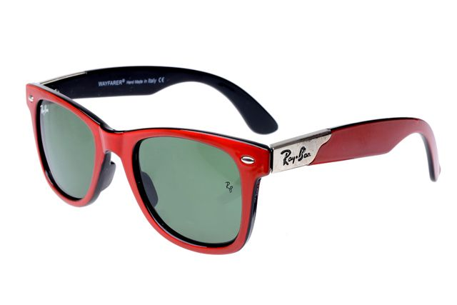 Ray Ban Wayfarer RB2140 Sunglasses Red/Black Frame Green Lens Can Be The Best Seller You Have Ever Seen! #Rayban #Sunglasses | See more about ray ban wayfarer, wayfarer and ray bans.