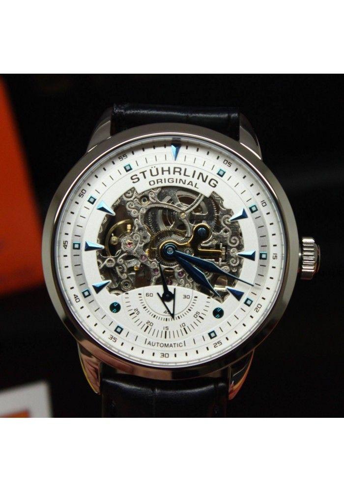 5b65f052366 Relógio Masculino Automático de pulso pulseira de couro Stuhrling Original  cod13333152