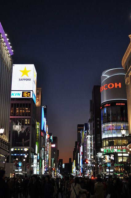 Ginza, Tokyo, Japan - Like Japan's Times Square... but better (: one of my favorite places to shop