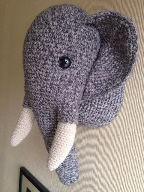 Crochet Elephant wall hanging trophy head. Ideal by McArthurCrafts, £50.00