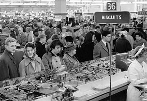 Woolworths sold loose biscuits from glass fronted 'bins'. There was always one which contained broken biscuits at a much cheaper price. These were the best in a child's opinion as you got some of everything!