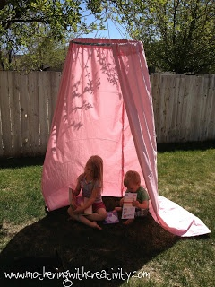 DIY tutorial: children's play tent using a hoola hoop from the Dollar Store, old curtains, and a hanger!