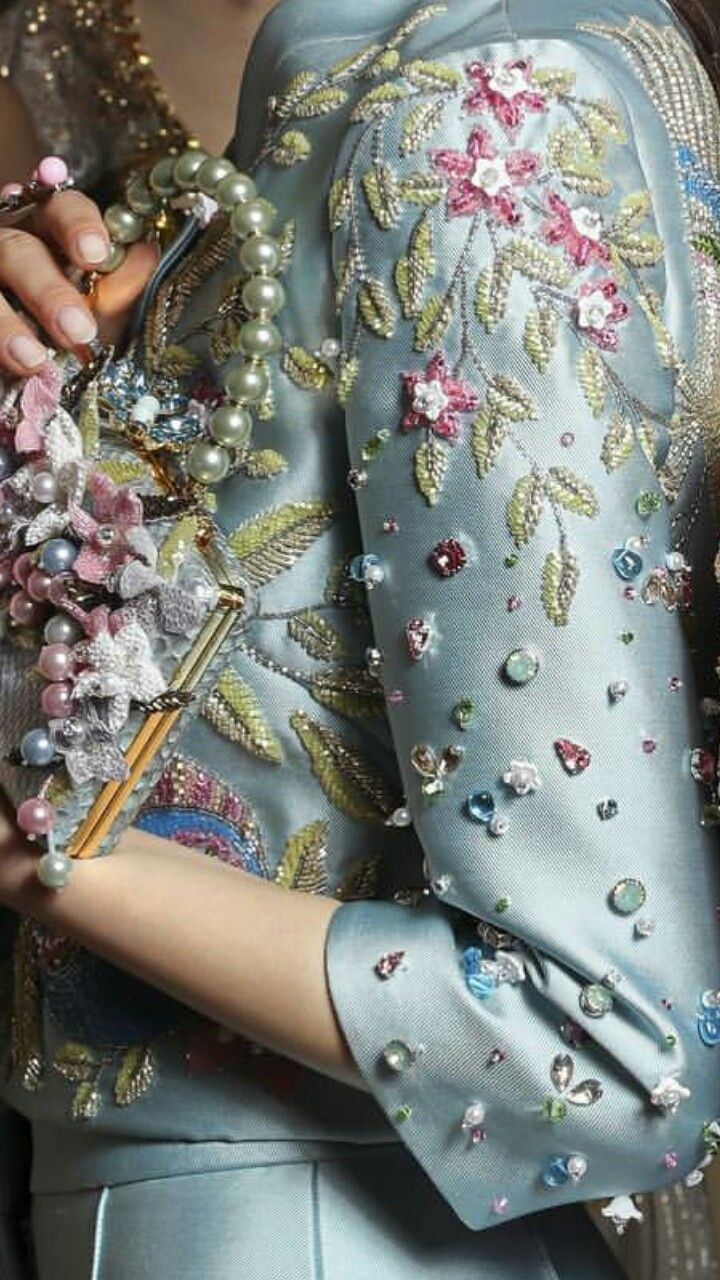 Silk ensemble with embroidery and beading