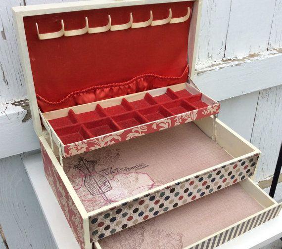Large Jewelry Box Shabby Chic Jewelry Box by LetaPearlEmporium