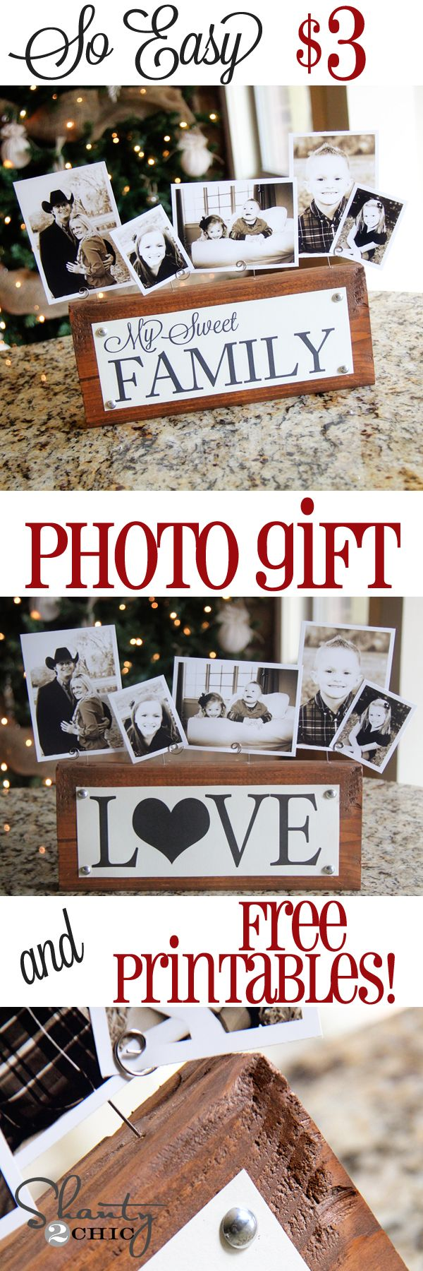 Great Photo Block Gift Idea for #Christmas from Shanty-2-Chic.com // Great Christmas gift for anyone and SO EASY!