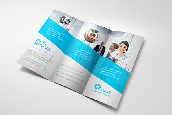 Trustx corporate tri fold brochure template 3 25 really for Two fold brochure design