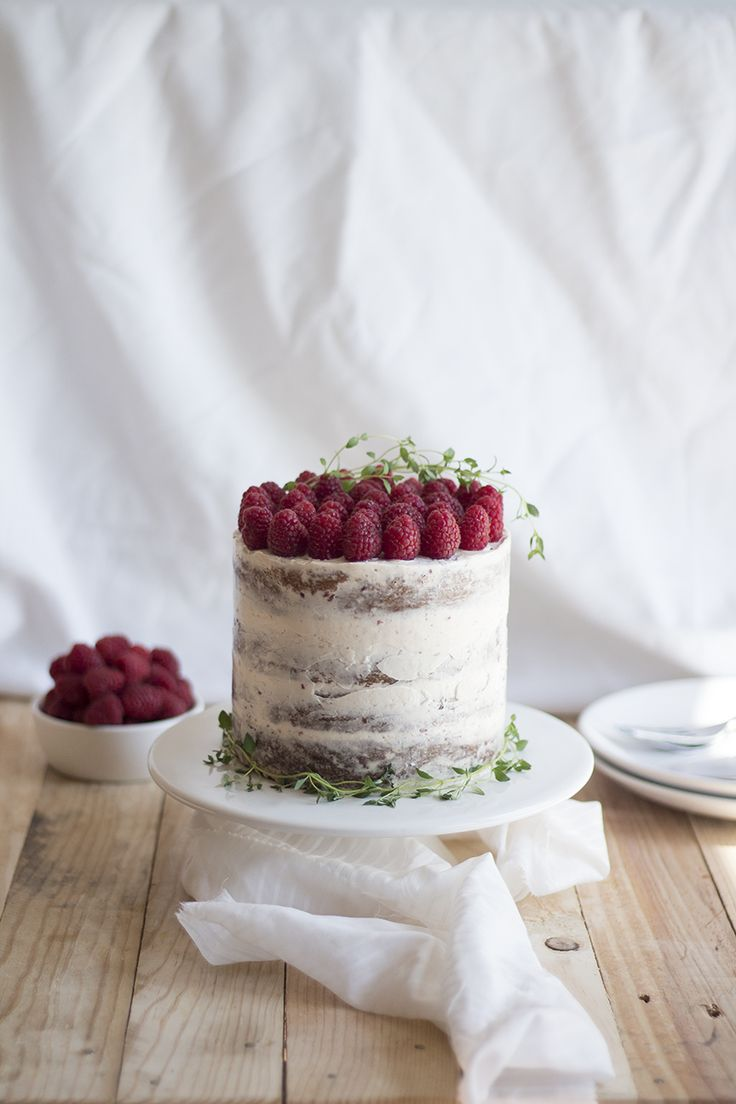 lemon ricotta cake + thyme syrup + raspberry buttercream frosting (raspberry thyme cake)