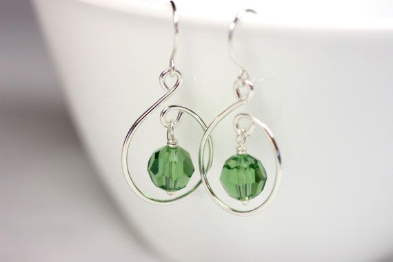 Green Swarovski Earrings Wire Wrapped Jewelry Handmade Sterling Silver Jewelry Handmade Swarovski Crystal Earrings Swarovski Crystal Jewelry. $28.00, via Etsy.