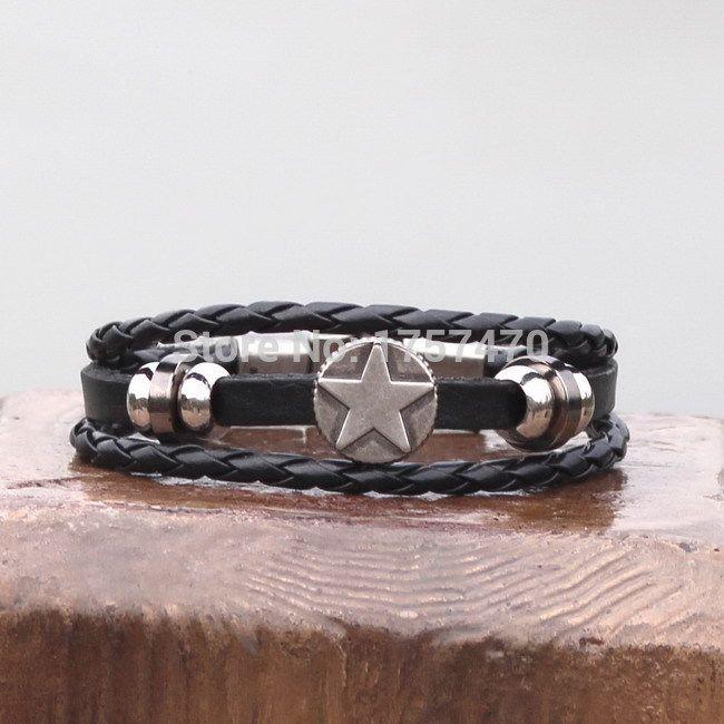 Винтаж бронзовая звезда черный мужские кожаный браслет манжеты селтик символы