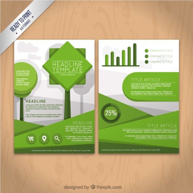 Geometric green flyer template Free Vector