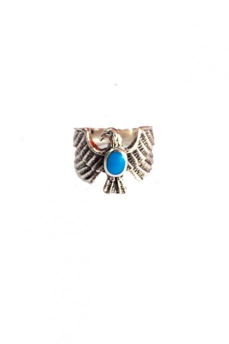 Bague aigle argent et pierre turquoise