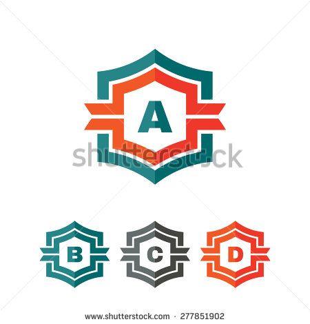 Abstract geometric monogram vector logo concept illustration. Letter A, B, C, D. Vector logo template. Design element.