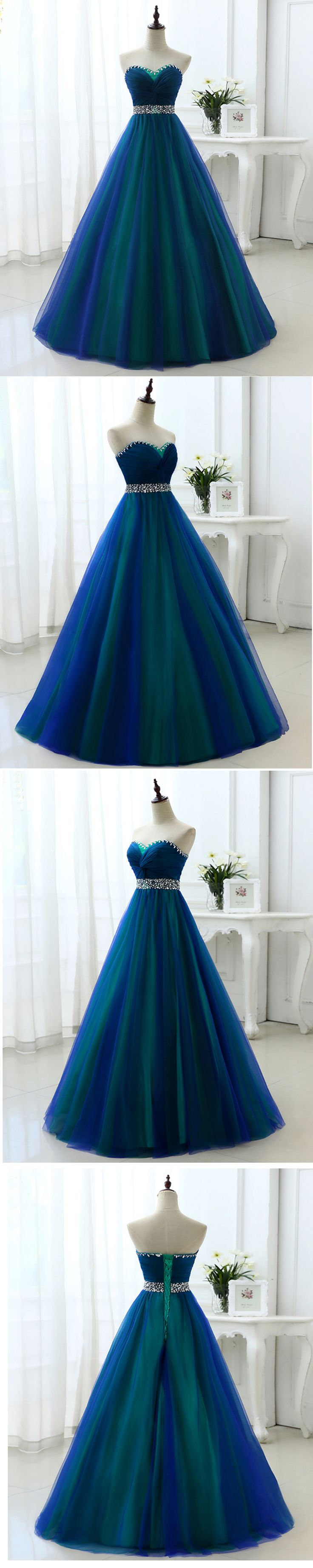 Cute beaded tulle long prom dress for teens