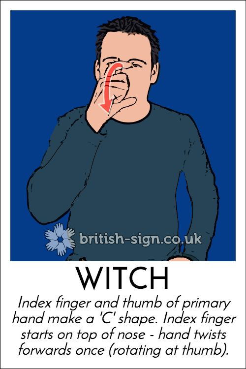 Today's #BritishSignLanguage sign is: WITCH