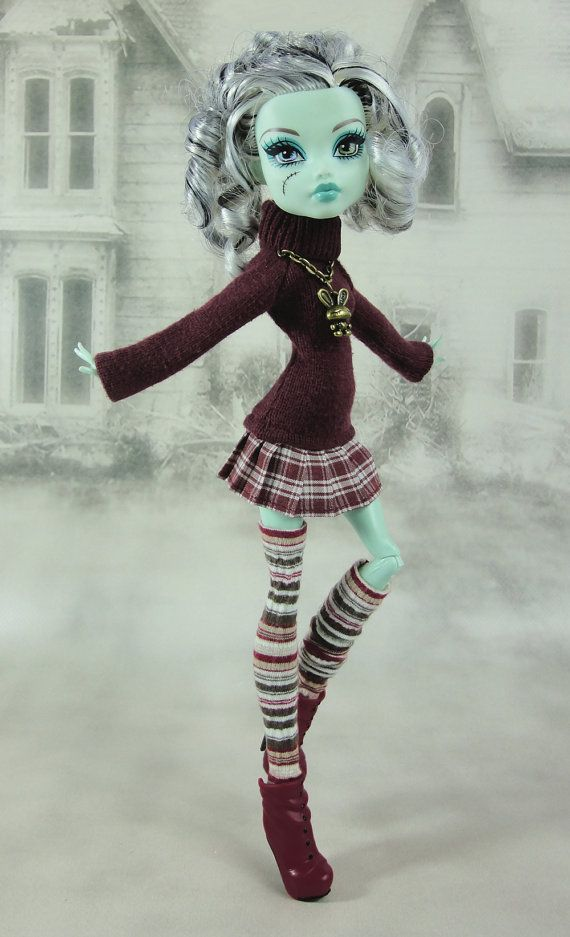 Monster High doll clothes outfit burgundy sweater by JonnaJonzon