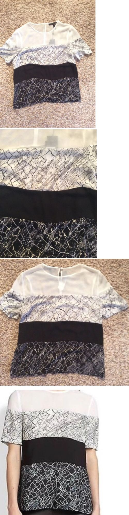Women Tops And Blouses: New Womans Bcbgmaxazria Caletste Top Blouse Black And White Crackle Print BUY IT NOW ONLY: $35.0