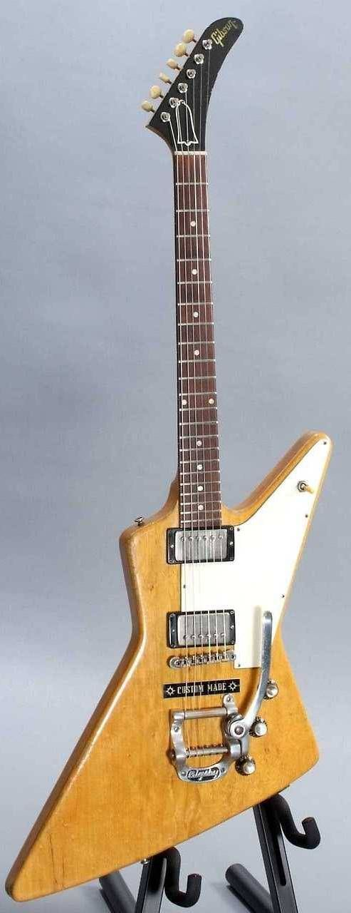 Gibson Explorer ~ Assembled and released in 1963 this has a korina 2 piece body korina neck (59 inked on serial number) and a Brazilian rosewood fretboard. All hardware is nickel new tuners installed in late 60s. Gibson installed a Bigsby and Custom Made plate in the mid 60s. --- https://www.pinterest.com/lardyfatboy/