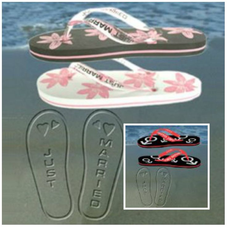 JUST MARRIED HONEYMOON HOLIDAY FLIP FLOPS GREAT WEDDING GIFT FOR BRIDE GROOM Q1