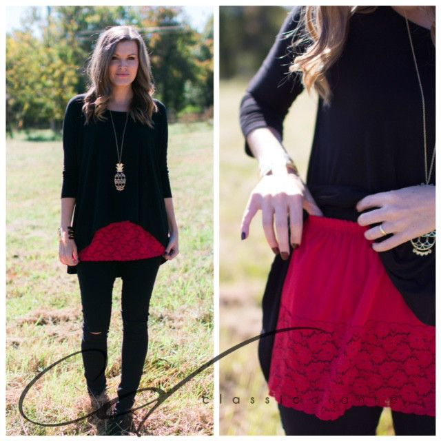 Shirt Extender-Red Lace Wardrobe foundation MUST-HAVE! Add style and versatility…