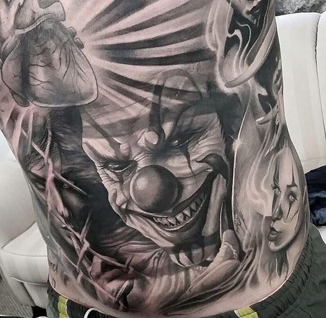 Beautifully healed clown tattoo by Beny Pearce