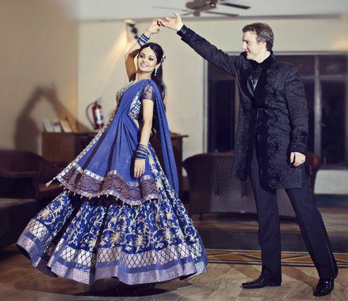 A blue silk lehenga with gold & silver work by Anita Dongre for Rajeshwari Chakravarty of WeddingSutra. Photo Courtesy- Romesh Dhamija
