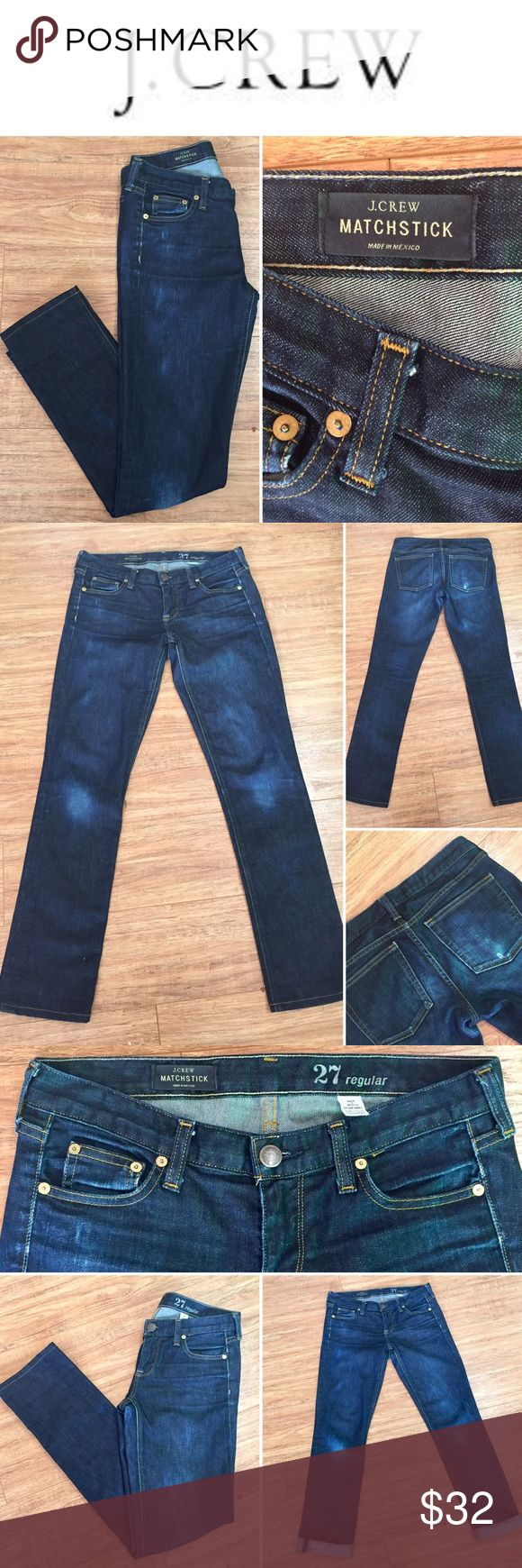 """J.crew """"Matchstick"""" Jean These are the perfect traditional straight leg jean. Gently worn and slightly distressed around the knees and back pockets. The fit and style is """"Matchstick"""", (final photo is a stock photo showing the fit in a different wash than what I'm selling.) Can be worn at the ankle or rolled for a """"boyfriend"""" look. Made with premium with stretch and classic 5 pocket style. J. Crew Jeans Straight Leg"""