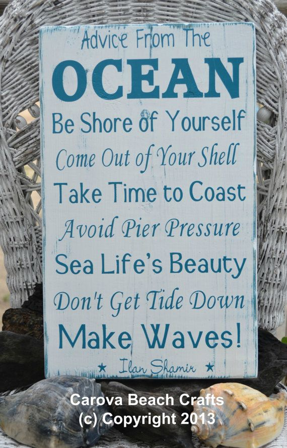 Cute Beach Coastal Wood Sign - Advice From The Ocean Hand Painted on Reclaimed  Wood