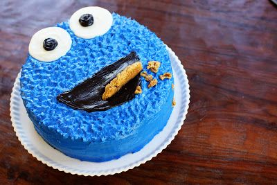 dark chocolate mocha cake with cookie dough filling...yes please!!! Minus all the blue frosting though.