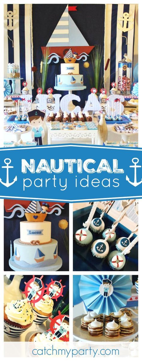 Set sail with this wonderful Nautical birthday party. The birthday cake is gorgeous!! See more party ideas and share yours at CatchMyParty.com