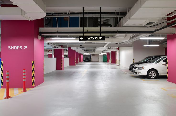 Sensational Stylish Car Park Designs: Spacious Car Park Decorating Ideas In White And Red Color