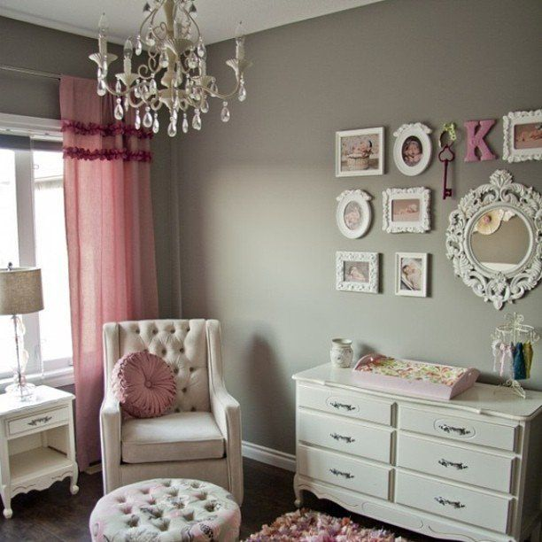 Wall color?? With pink and turquoise accents? I like the neutral aspect of using a shade of grey, rather than a particularly girl color like pink, on the walls.