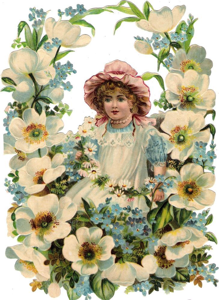 Oblaten Glanzbild scrap die cut chromo Kind child  XL 24cm Blumen Kranz garland
