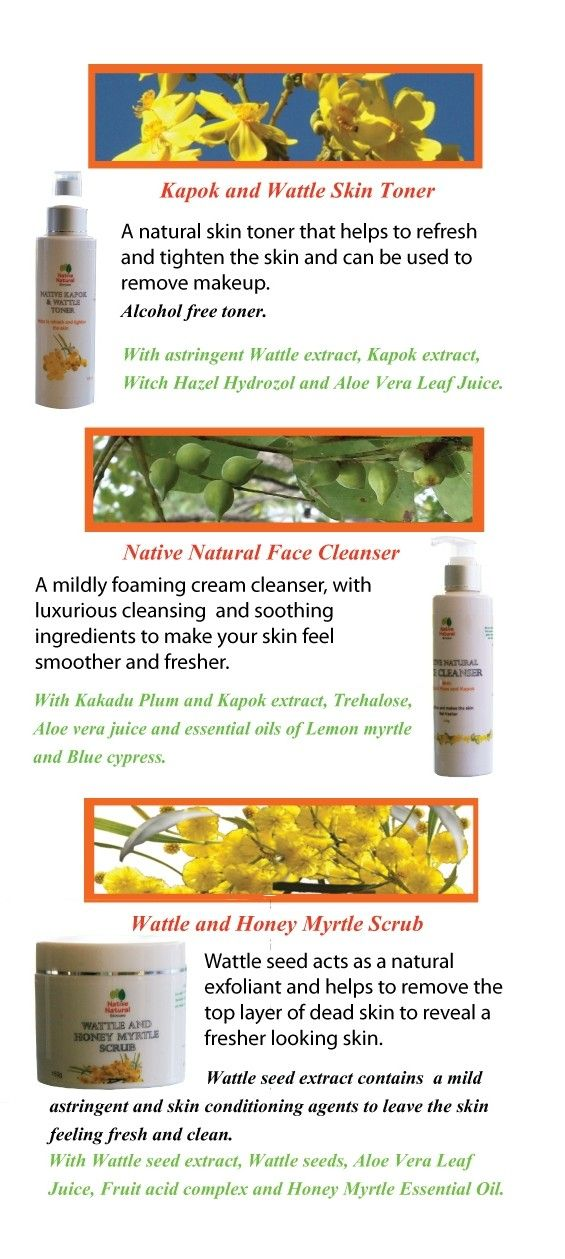 Native Natural Skin Care Product Brochure page 4. Find out more at www.nativenaturalskincare.com.au