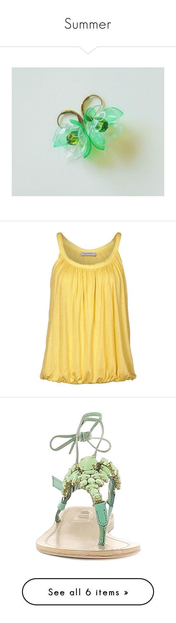 """""""Summer"""" by styledonna on Polyvore featuring tops, shirts, tank tops, yellow, tanks, women's tops, yellow top, yellow tank, beige shirt i beige top"""