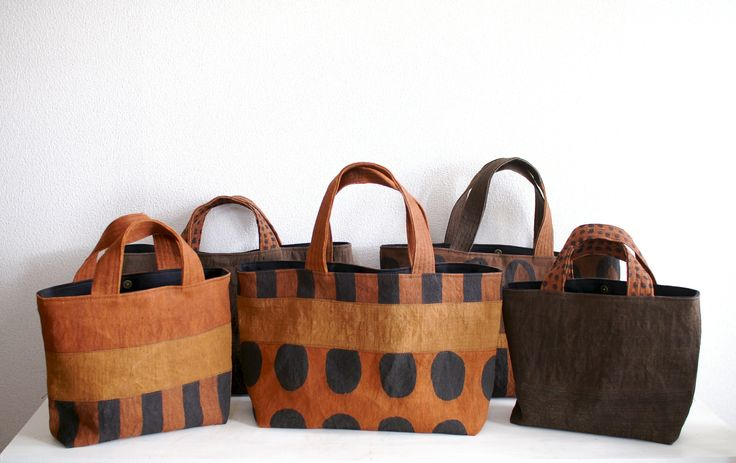 Yokoyama Masami, bags made from fabric dyed with persimmon juice and Japanese ink