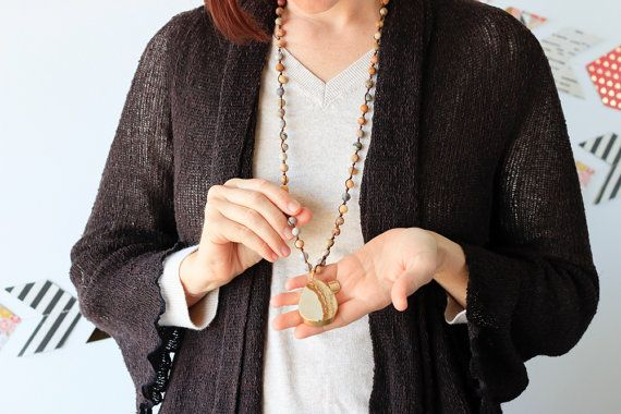 Lang Jasper kralen ketting met hanger van Agaat door kayandstar