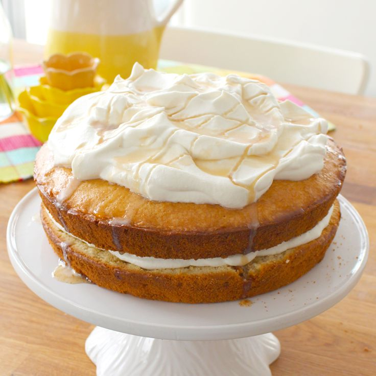 This cake tastes like autumn –the maple syrup-soaked brown sugar cake pairs perfectly with the light and fluffy maple cream. This cake is sweet but not overbearing and is delicious with a cup of tea.
