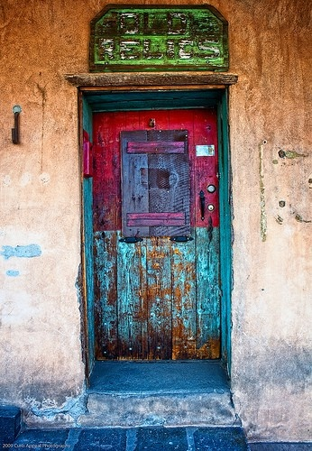 SantaFe colorful door.  LOVE THIS!  I think I will go pull these colors for my next bracelet...