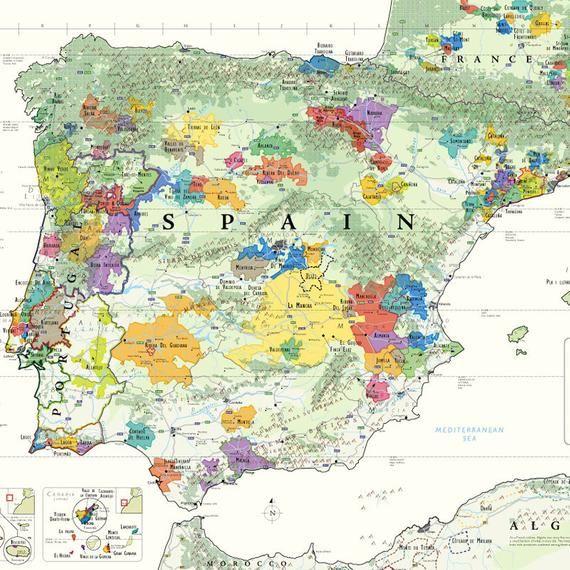 De Long S Wine Map Of The Iberian Peninsula Spain Portugal 24 X 36 Wine Map Iberian Peninsula Map
